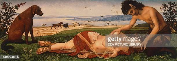 Procris' Death 15011510 by Piero di Cosimo oil on canvas 65x183 cm London National Gallery