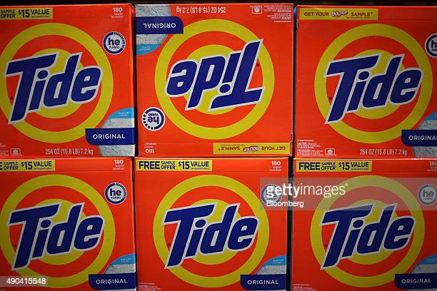 Procter Gamble Co Tide brand laundry detergent is displayed for sale inside a Costco Wholesale Corp store in Nashville Tennessee US on Friday Sept 25...
