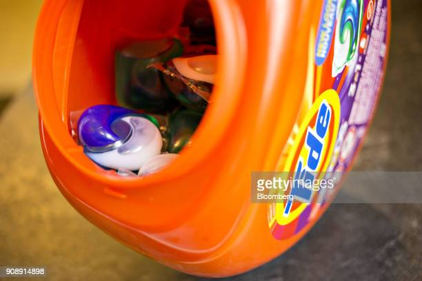 Procter Gamble Co Tide Pods brand laundry detergent is arranged for a photograph in Tiskilwa Illinois US on Monday Jan 22 2018 Procter Gamble is...