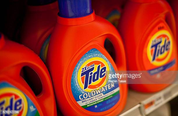 Procter Gamble Tide brand laundry detergent are displayed on the shelf at a supermarket in New York City on Tuesday August 3 2010 PG is the world's...