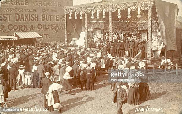 Proctor's Bioscope sideshow at Chesterfield Races Derbyshire c1900 The travelling Bioscope showmen who visited fairs and events in the period...