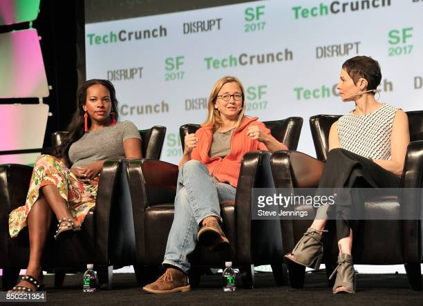 Proday CEO Sarah Kunst Candor Inc authour Kim Malone Scott and Insight Venture Partners Managing Director Hilary Gosher speak onstage during...