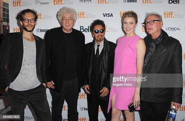 """Prodcers Jason Sosnoff and Avi Lerner, actors Al Pacino and Greta Gerwig and director Barry Levinson arrive at """"The Humbling"""" Premiere during the..."""