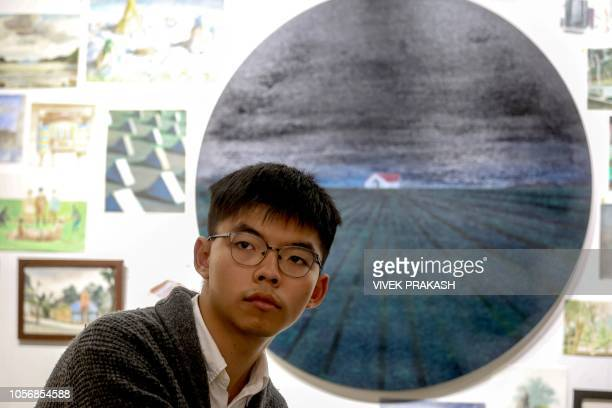 Pro-democracy activist Joshua Wong attends a panel discussion in Hong Kong on November 3, 2018. - Members of Russian punk protest group Pussy Riot...