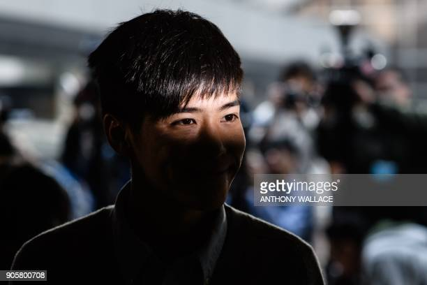 Prodemocracy activist Lester Shum enters the High Court to hear his sentence for protest related charges in Hong Kong on January 17 2018 Hong Kong...