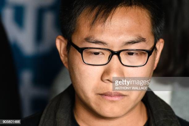 Prodemocracy activist Raphael Wong reacts before entering the High Court to hear his sentence on protest related charges in Hong Kong on January 17...