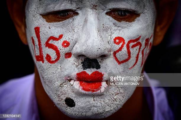 Pro-democracy activist takes part in an anti-government rally organised by the Red Shirts political movementin Bangkok on April 4, 2021.