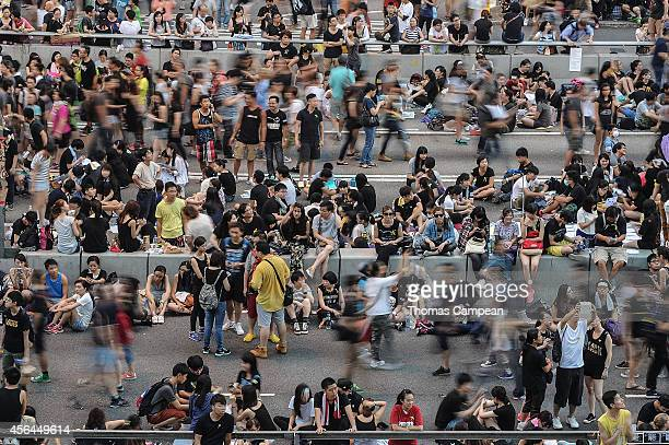 Prodemocracy demonstrators near the Government Complex in Hong Kong on October 1 2014 in Hong Kong Hong Kong Thousands of pro democracy supporters...