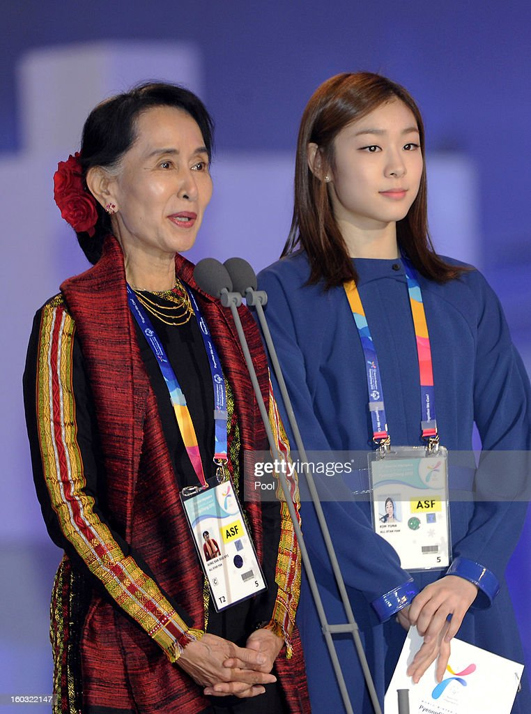 Pro-democracy leader Aung San Suu Kyi (L) and honorary ambassador Yuna Kim attend the Opening Ceremony of the 2013 Pyeongchang Special Olympics World Winter Games at the Yongpyeong stadium on January 29, 2013 in Pyeongchang-gun, South Korea.