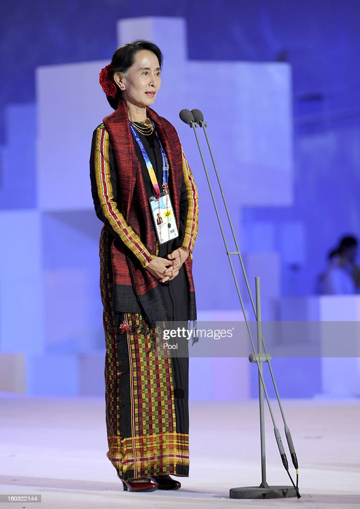Pro-democracy leader Aung San Suu Kyi attends the Opening Ceremony of the 2013 Pyeongchang Special Olympics World Winter Games at the Yongpyeong stadium on January 29, 2013 in Pyeongchang-gun, South Korea.
