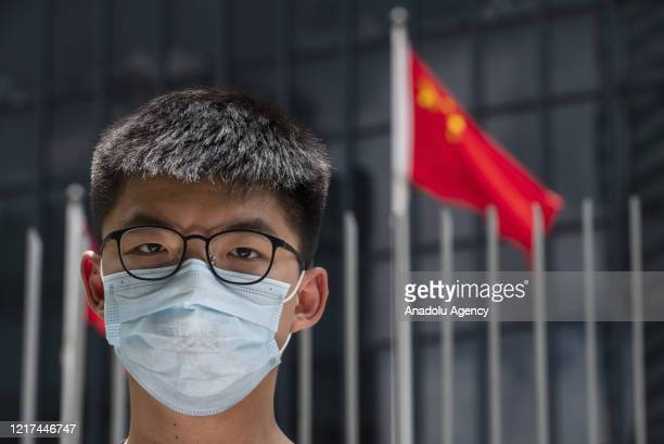 Pro-democracy party Demosisto members Joshua Wong during a press conference calling European leaders to act against a national security law outside...