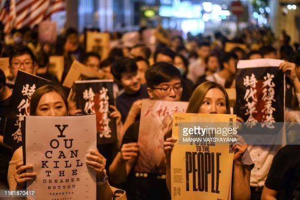 TOPSHOT Prodemocracy protesters attend a rally in Hong Kong on August 16 2019 Hong Kong's summer of rage was sparked by broad opposition to a plan to...