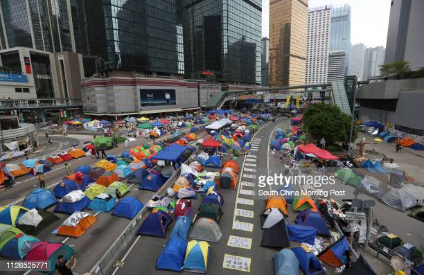 """Pro-democracy protesters continue staying in tents at protest site in Admiralty during """"Occupy Central with Love and Peace"""" movement. 24OCT14 SCMP /..."""