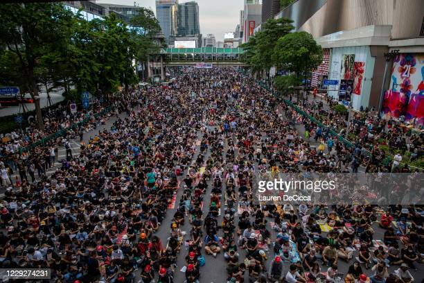 Pro-democracy protesters rally at the Ratchaprasong Intersection on October 25, 2020 in Bangkok, Thailand. This event marks the latest in a string of...