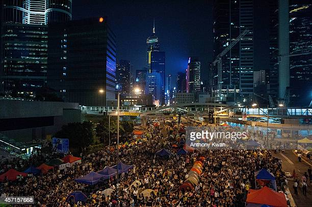 Prodemocracy protesters take park in a rally outside of Hong Kong Government Complex on October 13 2014 in Hong Kong Prodemocracy supporters continue...
