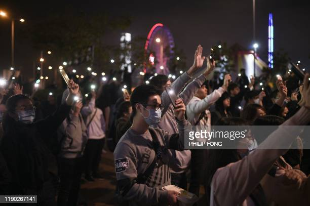 TOPSHOT Prodemocracy protesters take part in a rally to support Spark Alliance a fundraising platform that has been accused of money laundering and...