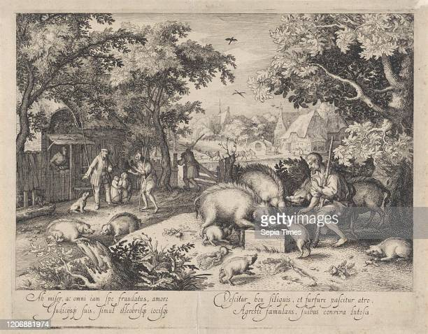 Prodigal son as a swineherd, print maker: Claes Jansz. Visscher II, David Vinckboons, 1608.