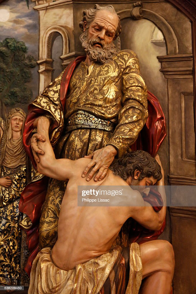 Prodigal Son sculpture in the Hermitage of the Virgin of El Rocio : Stock Photo