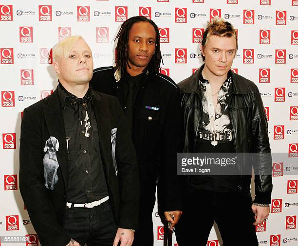Prodigy members Keith Flint Maxim Reality and Liam Howlett arrive at The Q Awards the annual magazines music awards at Grosvenor House on October 10...