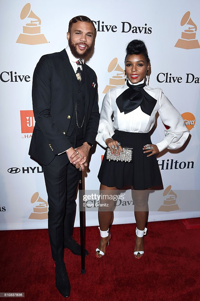 Producar Jidenna (L) and recording artist Janelle Monáe attend the 2016 Pre-GRAMMY Gala and Salute to Industry Icons honoring Irving Azoff at The Beverly Hilton Hotel on February 14, 2016 in Beverly Hills, California.