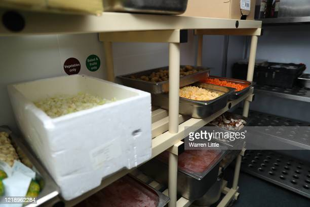 Produce is prepared by London Irish Rugby staff to provide meals for NHS hospitals in their Hazelwood Centre club kitchen on April 15, 2020 in...