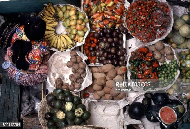 produce market - guatemala city stock pictures, royalty-free photos & images