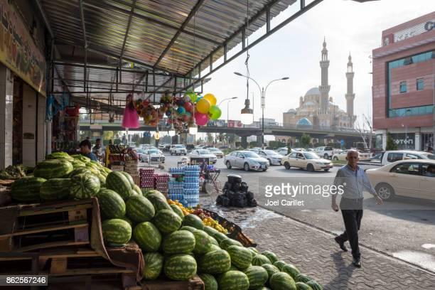 Produce stand in Erbil, Iraq