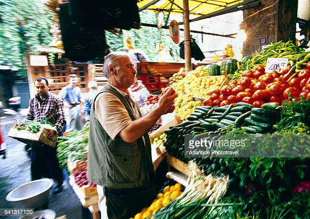 Produce Stand in Fish and Vegetable Market