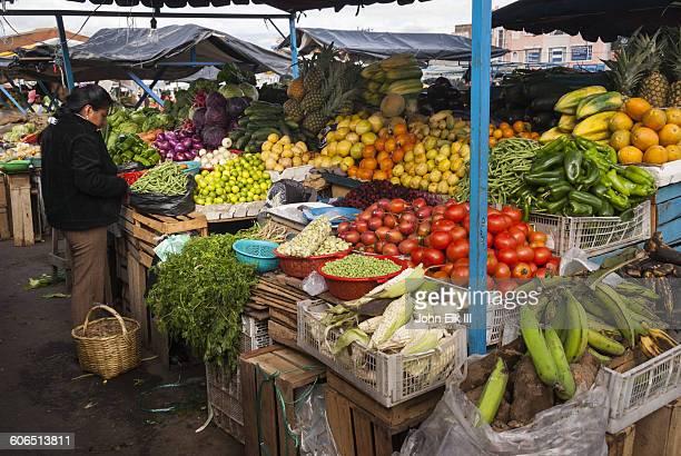 Produce stand in Latacunga, Ecuador