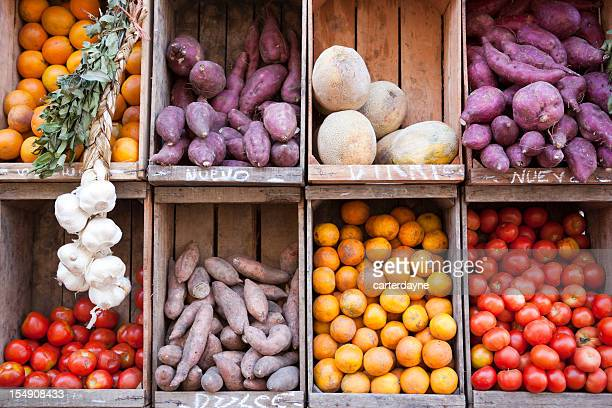 produce stand street market, buenos aires argentina - produce aisle stock photos and pictures