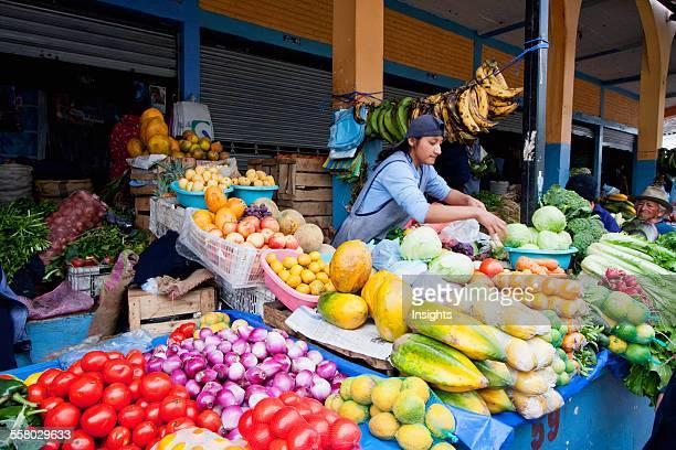Produce Vendors At The Saturday Market Otavalo Imbabura Ecuador