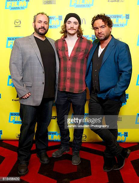 Producer Aaron L Gilbert and actors Kyle Gallner and Johnny Galecki attend the premiere of 'The Master Cleanse' during the 2016 SXSW Music Film...