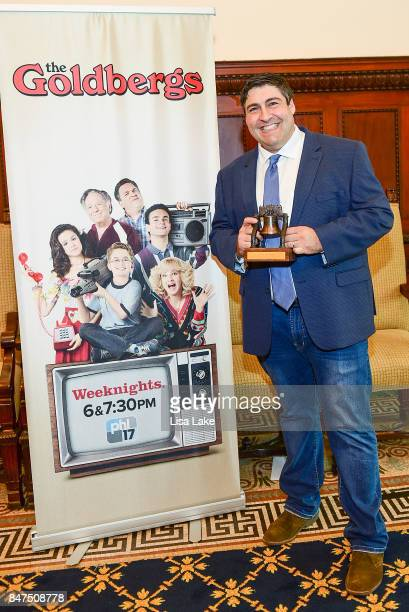 Producer Adam F Goldberg is honored with the Liberty Bell as the City of Philadelphia Proclaims September 15th The Goldbergs Syndication Day at...