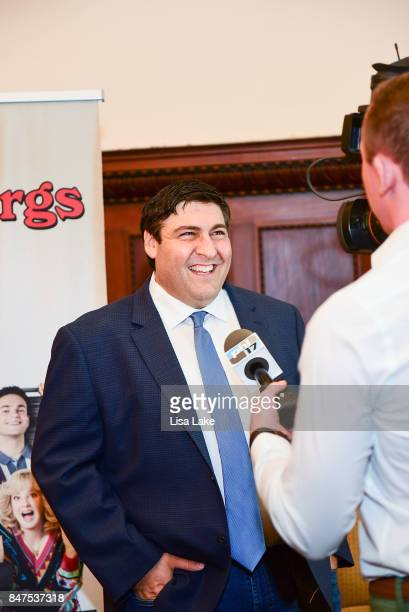 Producer Adam F Goldberg smiles while being interviewed during an event honoring Goldberg at Philadelphia City Hall on September 15 2017 in...