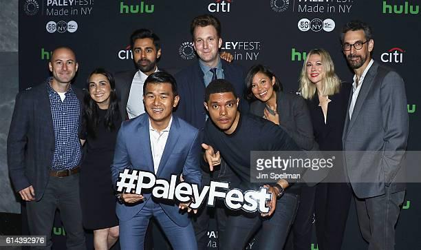 Producer Adam Lowitt executive producer Jen Flanz actors Hasan Minhaj Ronny Chieng comedian Jordan Klepper comedian/host Trevor Noah journalist Alex...