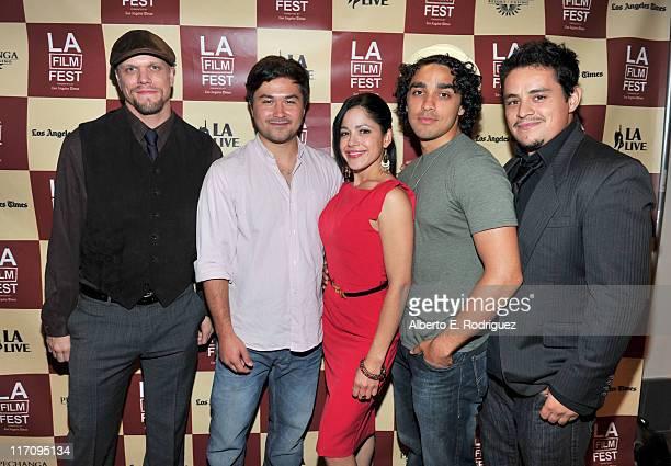 Producer Adam Renehan writer/Director Nicholas Ozeki actor EJ Bonilla actress Veronica DiazCarranza and actor Jesse Garcia attend the Mamitas Q A...
