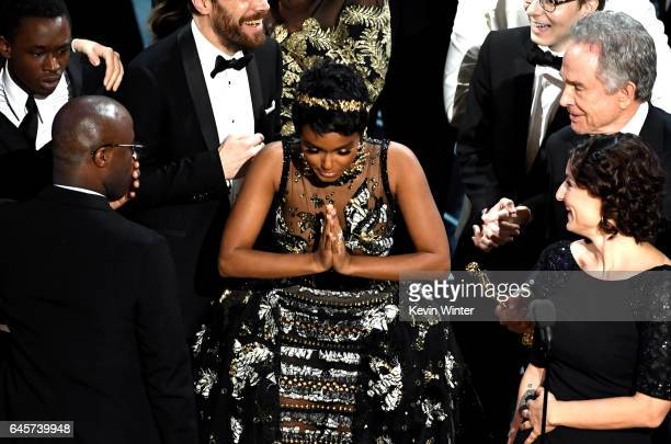 Producer Adele Romanski actor Ashton Sanders writer/director Barry Jenkins and actor/singer Janelle Monae accept Best Picture for 'Moonlight' as...