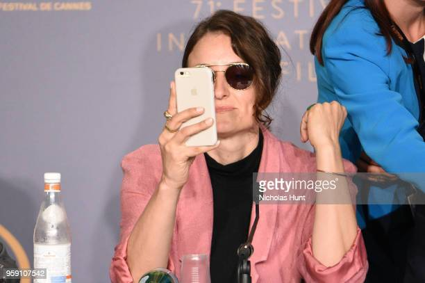 Producer Adele Romanski attends 'Under The Silver Lake' Press Conference during the 71st annual Cannes Film Festival at Palais des Festivals on May...