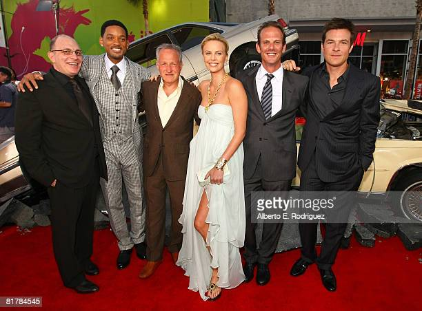 Producer Akiva Goldsman actor Will Smith producer Michael Mann actress Charlize Theron director Peter Berg and actor Jason Bateman arrive to the...