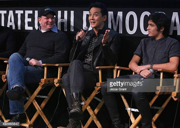 Producer Al Gough and actors Daniel Wu and Aramis Knight participate in a panel discussion onstage at AMC and CAPE Celebrate 'Into The Badlands' at...