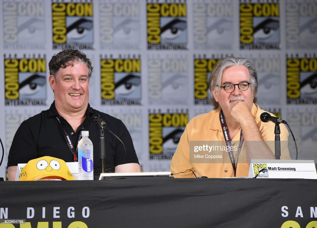 Producer Al Jean (L) and writer/producer Matt Groening attend 'The Simpsons' panel during Comic-Con International 2017 at San Diego Convention Center on July 22, 2017 in San Diego, California.