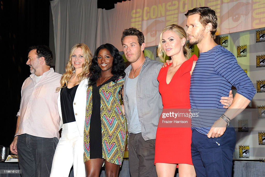 Producer Alan Ball, and actors Kristen Bauer, Rutina Wesley, Kevin Alejandro, Anna Paquin and Ryan Kwanten speak at HBO's 'True Blood' Panel during Comic-Con 2011 and the San Diego Convention Center on July 22, 2011 in San Diego, California.