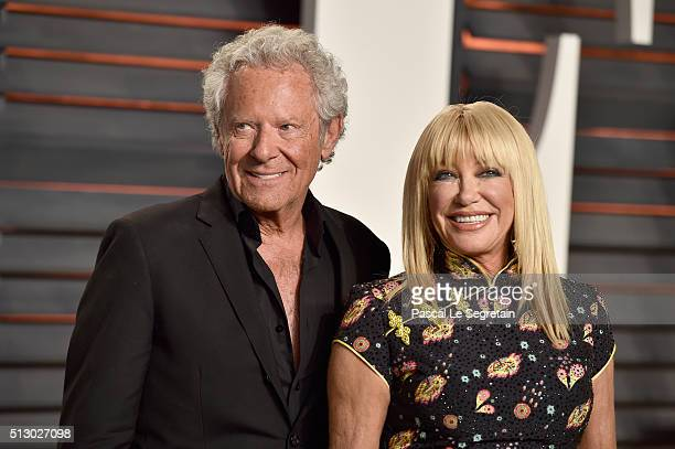 Producer Alan Hamel and actress Suzanne Somers attend the 2016 Vanity Fair Oscar Party Hosted By Graydon Carter at the Wallis Annenberg Center for...