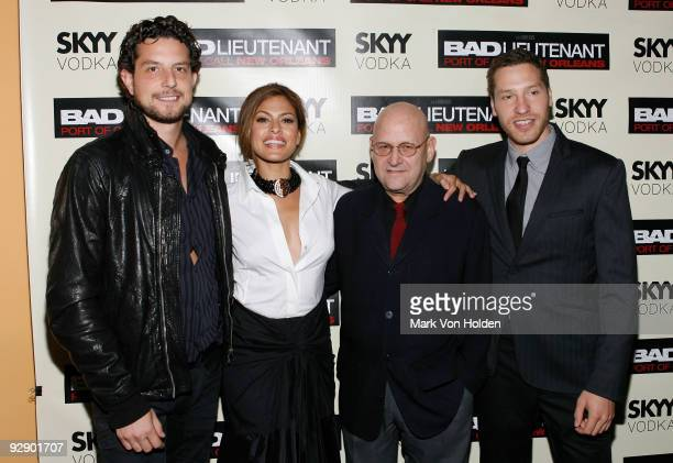 Producer Alan Polsky Actress Eva Mendes Producer Edward R Pressman and Gabe Polsky attends the New York premiere of 'Bad Lieutenant' at the SVA...