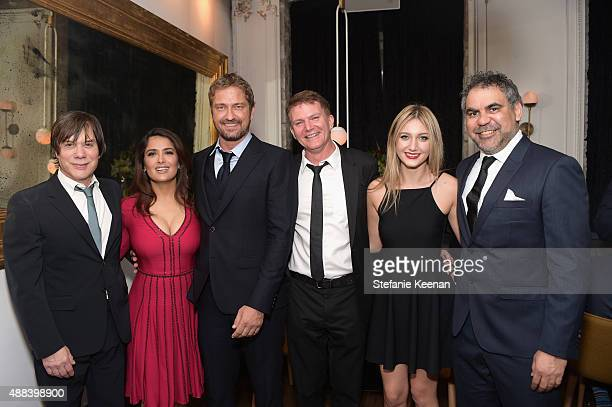 Producer Alan Siegel actors Salma Hayek Gerard Butler producer Les Weldon Hannah Weldon and director Wayne Blair attend the Septembers of Shiraz TIFF...