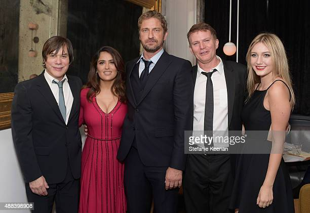 Producer Alan Siegel actors Salma Hayek Gerard Butler producer Les Weldon and Hannah Weldon attend the Septembers of Shiraz TIFF Party Hosted By GREY...