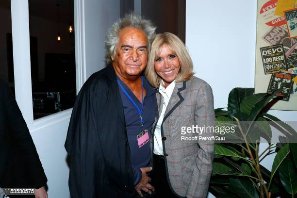 Producer Albert Koski and Brigitte Macron attend Albert Koski exposes its Rock&Roll Posters Collection at Galerie Laurent Godin on June 03, 2019 in...