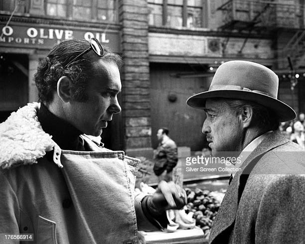 Producer Albert S Ruddy and actor Marlon Brando on the set of 'The Godfather' directed by Francis Ford Coppola Little Italy Manhattan New York City...