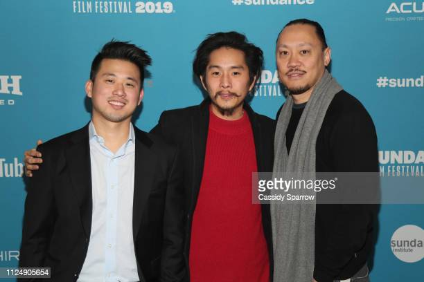 Producer Alex Chi Writer Director and producer Justin Chon and Producer Alan Pao attends the Ms Purple Premiere during 2019 Sundance Film Festival at...