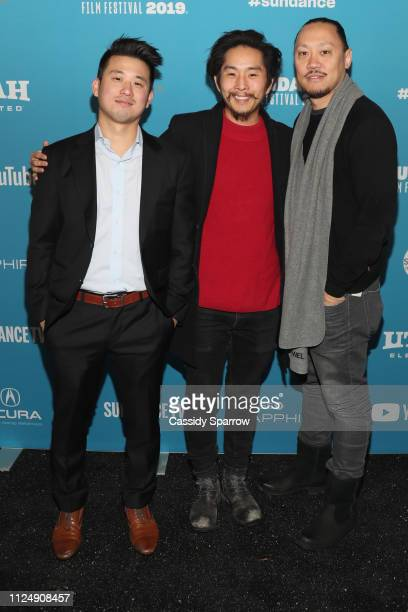 Producer Alex Chi Writer Director and producer Justin Chon and Producer Alan Pao attend the Ms Purple Premiere during 2019 Sundance Film Festival at...